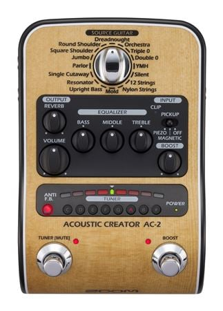 Zoom AC-2 Acoustic Creator Pedal With Sound Modelling And DI Box