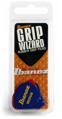 Ibanez Rubber Grip Wizard Guitar Picks 6 Pack Medium