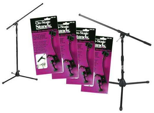 On Stage Drum Set Microphone Rim Clip and Stand Package