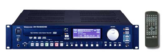 Tascam DVRA1000HD Stereo Master CD Recorder w60GB Hard Drive