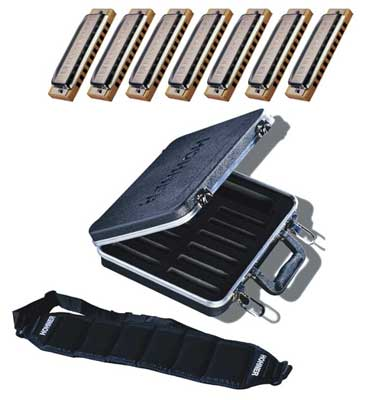 Hohner Blues Harp 7 Harmonica Package with Case and Belt