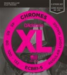 D'Addario ECB81-5 Chromes XL Flatwound 5-String Bass Guitar Strings