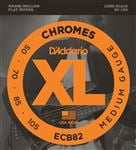 D'Addario ECB82 XL Chromes Flatwound Electric Bass Guitar Strings