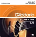D'Addario EJ10 80/20 Bronze Acoustic Guitar Strings 10-47