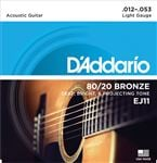 D'Addario EJ11 80/20 Bronze Acoustic Guitar Strings 11-52