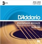D'Addario EJ16 3D Phosphor Bronze Acoustic Guitar Strings Light 3 Pack