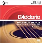 D'Addario EJ17 3D Phosphor Bronze Acoustic Guitar Strings Medium 3 Pak