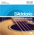 D'Addario EJ38 Phosphor Bronze 12-String Acoustic Guitar Strings 10-47