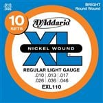D'Addario EXL110 XL Nickel Wound Electric Guitar Strings 10-46 10 Pack