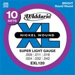 D'Addario EXL120 XL Nickel Wound Electric Guitar Strings 9-42 10 Pack