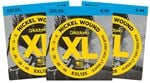 D'Addario EXL125 XL Nickel Wound Electric Guitar Strings 9-46 3 Pack