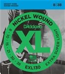 D'Addario EXL130 XL Nickel Wound Electric Guitar Strings 8-38