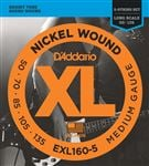 D'Addario EXL160-5 XL Nickel Wound 5 String Bass Guitar Strings 50-135