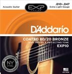 D'Addario EXP10 Coated 80/20 Bronze Acoustic Guitar Strings