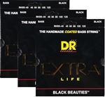 DR K3 Black Beauties BKB5-45 Bass Guitar Strings-3 Pack