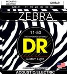 DR Strings ZAE11 Zebra Acoustic Electric Guitar Strings 11-50