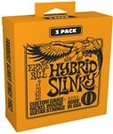 Ernie Ball P03222 Hybrid Slinky Nickel Wound 3 Pack