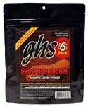 GHS S335-5 Phosphor Bronze Acoustic 5 Pack with Free Set