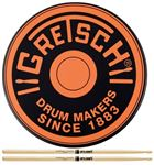 Gretsch 6 Inch Logo Practice Pad Orange Free Promark 5A Wood Sticks