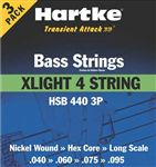 Hartke HSB440 4 String Bass Guitar Strings Ex Light .040.095 3 Pack