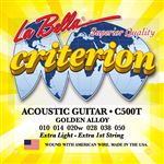 La Bella C500T Criterion Golden Alloy Acoustic Guitar Strings 10 to 50