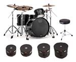 Mapex Meridian Black LE Raven 4 Piece Shell Kit with Bags and Throne