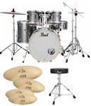 Pearl Export EX725SP 5Pc Drum Set Smokey Chrome WUHAN 457 Cymbal Set