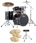 Pearl Export EX725SP 5Pc Drum Set Black WUHAN 457 Cymbal Set