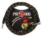 Pig Hog 10Ft Rasta Stripes Instrument Cable with Angled Ends