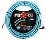 Pig Hog 20Ft Daphne Blue Instrument Cable with Angled Ends