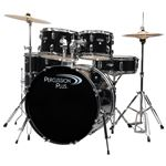 Percussion Plus 4100 5 Piece Complete Drum Set Black