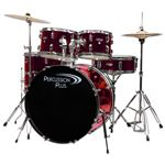 Percussion Plus 4100 5 Piece Complete Drum Set Metallic Wine Red