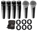 Shure 4 SM57 and 2 SM58 Mic Pack With 6 Cables and Microphone Case