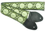 "Souldier 2"" Seatbelt Guitar Strap Medallion Black/Green"