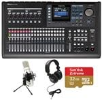 Tascam DP-32SD 32-Track Digital Portastudio Complete Recording Package