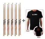 Vic Firth American Classic 5 A Wood Hickory 5 Pack With Vic Firth Logo