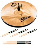 Zildjian A Custom Mastersound 14 Inch HiHat Cymbals with Free Drum Sticks