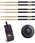 Zildjian 5A Black Dip Drum Sticks With Stick Bag And Puck