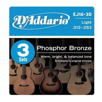 DAddario EJ16 3 Pack Phosphor Bronze Acoustic Guitar Strings