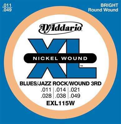 D'Addario EXL115W XL Blues Jazz Rock Electric Guitar Strings Wound 3rd