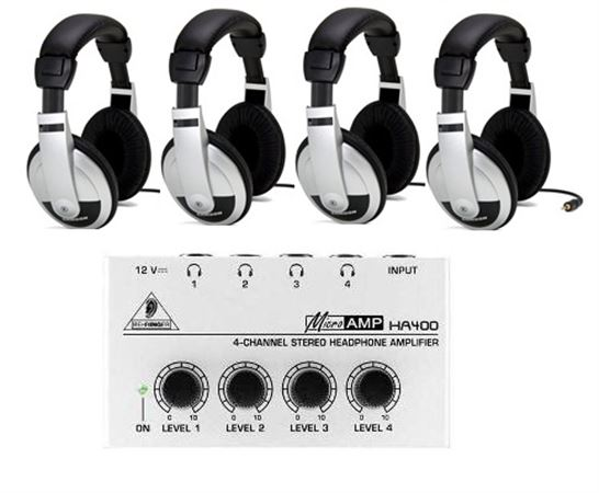 Behringer Microamp HA400 Headphone Amplifier Package