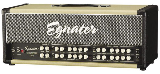 Egnater's flagship guitar amp, the Tourmaster 4100, has four distinct channels of all-tube tone that give you the power to conjure virtually any sound imaginable from country twang, bluesy breakup, raunchy crunch to metallic roar.  You get all this versatility with straight-forward, user-friendly controls that make it easy to find the tone in your head. Egnater Tourmaster 4100 Guitar Amplifier Head Features 100-Watt All-Tube Head Four Channels with Selectable Voicing Power Grid: Set Wattage for Each Channel from 10w to 100w Tube-Driven Assignable Effects Loop Tube-Driven Reverb Rugged Six-Button Footswitch Tubes: 8 x ECC83S & 4 x 6L6 Channels Clean/Vintage 1 is the cleanest channel, while Clean/Vintage 2 loosens the reigns a bit, responding with smooth, buttery overdrive when pushed. Overdrive 1 is the ultimate crunch channel, articulate and percussive with a powerful thump you can feel. And when you crave serious gain for the fattest leads and most over-the-top riffs, Overdrive 2 has all you need and more. Front Panel Features Four Independent Channels Each With: -- Gain Control — Master Control — Treble, Middle, Bass — Classic/Modern Voicing Switch Tube-Driven Reverb Master Presence/Density All four channels feature 3-band EQ, gain, volume, contour knobs and a switch for modern / classic voicing. Master reverb, presence and density controls cover all channels. Tourmaster Power Grid  The Tourmaster Power Grid allows you to independently set the wattage on each of the four channels: At full power: 25, 50 or 100 watts At half power: 10, 25 or 50 Watts Tourmaster features Egnater's exclusive Power Grid, which allows you to independently set each channel's wattage from 10 to 100 watts. With the Power Grid you get the best of both words – great power tube distortion at lower levels and tons of clean headroom on demand. Tube-driven reverb, a channel-assignable, tube-buffered effects loop, speaker simulated line out and simple master bias adjust with test points are just some of the features you'll find in this feature-packed beast. Rear Panel Features Assignable Tube-Driven Effects Loop: — Assign to Channels 1 and 2 — Assign to Channels 3 and 4 — Assign to all Four Channels — Assign to Pedal Only — Send and Return Level Controls — Selectable Series or Parallel Cabinet Voiced Line/Recording Out Simple Master Bias Adjust with Test Points Think of the Tourmaster as four separate amps in one box. Each channel has an identical set of controls that are simply repeated four times. That is where the similarity ends. Clean/Vintage 1 is the cleanest of the four. Within this channel lives a range of Classic tones ranging from pristine sparkle with the voicing switch set to MODERN to a punchy, aggressive drive (think clean JTM) in the CLASSIC mode. Pressing the button to activate the CONTOUR control opens an entire new range of beautiful clean, almost acoustic, tones not often found in a tube amplifier. Clean/Vintage 2 has a very similar voicing to the Clean/