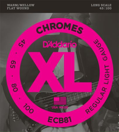 D'Addario XL Chromes Flat Wound Electric Bass Guitar Strings