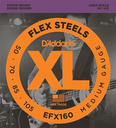 DAddario EFX160 FlexSteels Round Wound Bass Guitar Strings