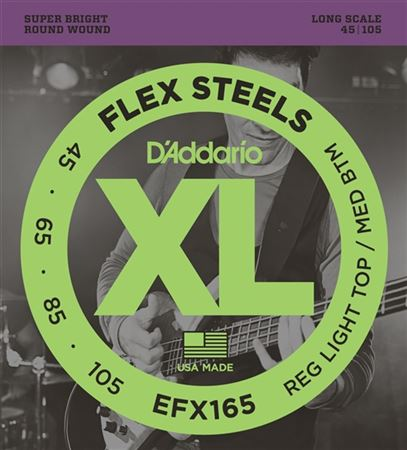 DAddario EFX165 FlexSteels Round Wound Bass Guitar Strings