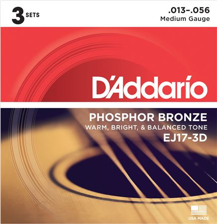 DAddario EJ17 3 Pack Phosphor Bronze Acoustic Guitar Strings