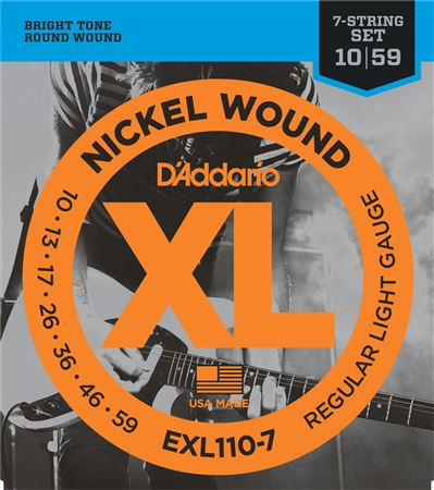 D'Addario EXL110-7 XL Nickel Wound 7-String Guitar Strings 10-59
