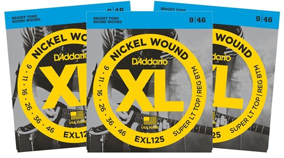DAddario EXL Nickel Wound Electric Guitar Strings 3 Pak