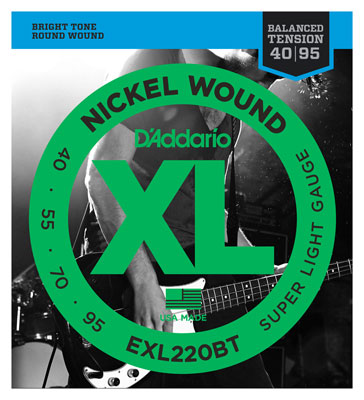 DAddario EXL220BT XL Balanced Tension Nickel Wound Bass Strings