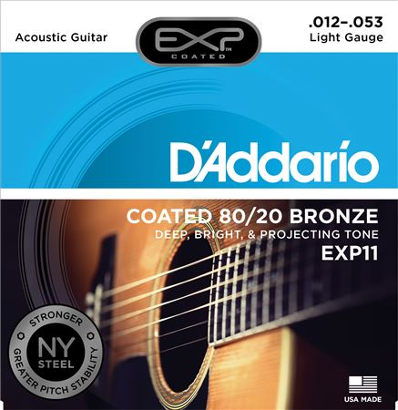DAddario EXP11 Light Coated 8020 Bronze Acoustic Strings